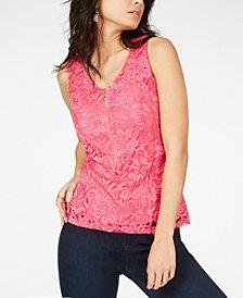 Thalia Sodi Lace Zipper-Front Top, Created for Macy's