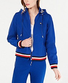 Striped-Trim Hooded Jacket