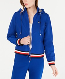 Tommy Hilfiger Sport Striped-Trim Hooded Jacket