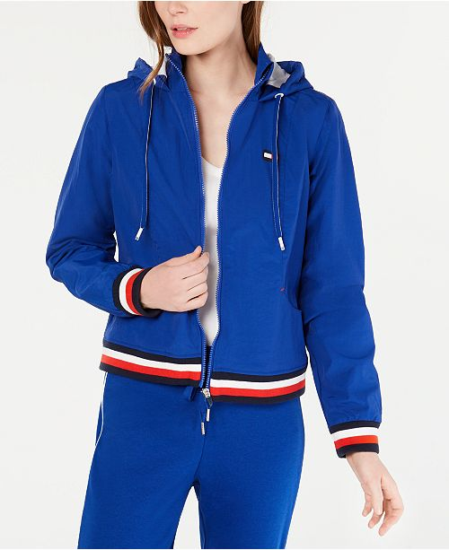 Tommy Hilfiger Striped-Trim Hooded Jacket