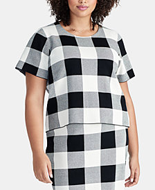 RACHEL Rachel Roy Trendy Plus Size Checkered Sweater