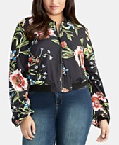 60cd9dd2fa07 RACHEL Rachel Roy Trendy Plus Size Printed Bomber Jacket