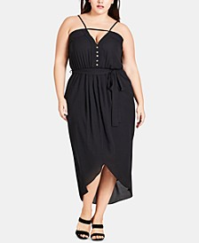 Trendy Plus Size Pintucked High-Low Dress
