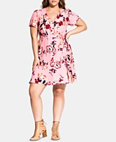 35b3ada1d9a City Chic Trendy Plus Size Floral-Print Fit   Flare Dress