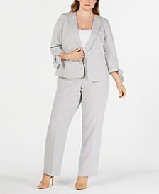 Plus Size Seersucker Tie-Cuff Pantsuit