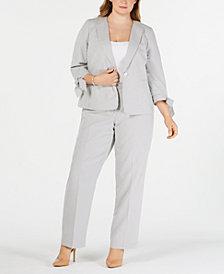Le Suit Plus Size Seersucker Tie-Cuff Pantsuit