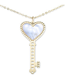 """Italian Gold Mother-of-Pearl Heart Key 18"""" Pendant Necklace in 10k Gold"""