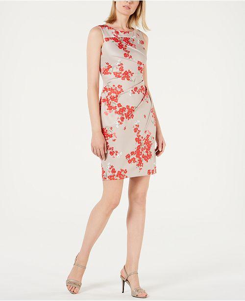 Calvin Klein Floral-Print Gathered Sheath Dress