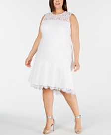 Calvin Klein Plus Size Illusion-Lace High-Low Midi Dress