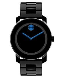 Unisex Swiss Bold Large Black TR90 Polyurethane Bracelet Watch 42mm 3600099