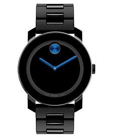 Movado Unisex Swiss Bold Large Black TR90 Polyurethane Bracelet Watch 42mm 3600099