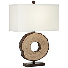 Faux Round Wood Table Lamp