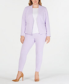 Calvin Klein Plus Size Open-Front Jacket, Lace Top & Crepe Pants