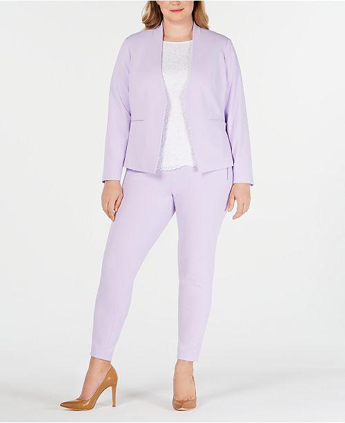 Calvin Klein Plus Size Open-Front Jacket, Lace Top & Crepe Pants