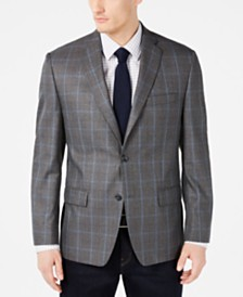Michael Kors Men's Classic-Fit Medium Gray Windowpane Sport Coat