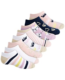 Toddler, Little & Big Girls 8-Pack Royalty No-Show Socks