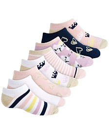 Planet Sox Toddler, Little & Big Girls 8-Pack Royalty No-Show Socks
