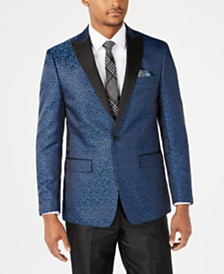 Tallia Orange Men's Slim-Fit Blue Leaf Pattern Jacquard Dinner Jacket