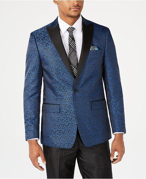 Tallia Orange Men's Slim-Fit Blue Leaf Pattern Jacquard Dinner Jacket