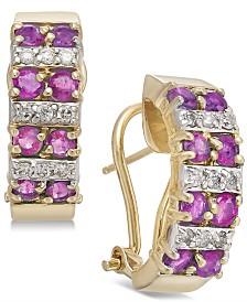 Ruby (1-5/8 ct. t.w.) & Diamond (1/5 ct. t.w.) Hoop Earrings in 14k Gold