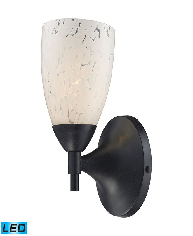 ELK Lighting Celina 1-Light Sconce in Dark Rust and Snow White Glass - LED Offering Up To 800 Lumens (60 Watt Equivalent)