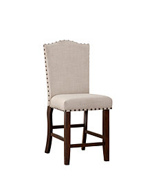 Benzara Rubber Wood High Chair with Studded Trim, Set of 2