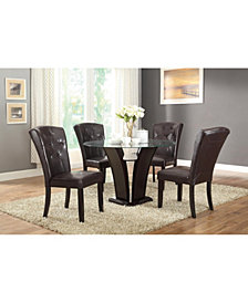 Benzara Hardwood Parson Chairs with Button Tufted Back, Set of 2