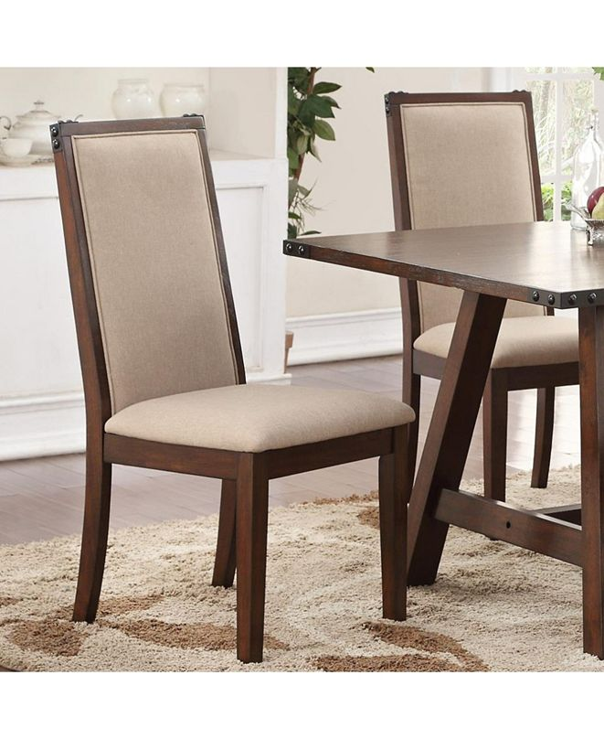 Benzara Set of 2 Comfortable Rubber Wood Dining Chair