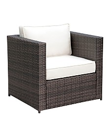 Benzara Aluminum Frame Wicker Patio Arm Chair with Cushioned Seating