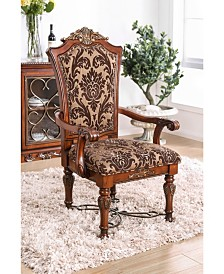 Benzara Floral Print Fabric Upholstered Arm Chair in Wood, Set of 2