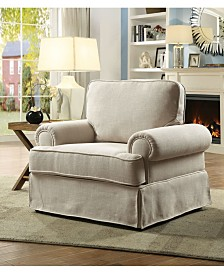 Benzara Fabric Upholstered Chair with Rolled Armrest