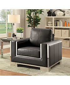 Benzara Stainless Steel Trim Chair with Leather Upholstery
