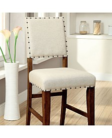 Benzara Rustic Counter Height Chair in Ivory Linen, Set of 2