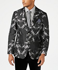 Orange Men's Slim-Fit Black/Silver Dragonfly Jacquard Dinner Jacket