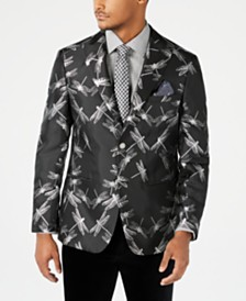 Tallia Orange Men's Slim-Fit Black/Silver Dragonfly Jacquard Dinner Jacket