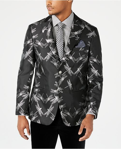 Tallia Orange Men's Slim-Fit Black/Silver Dragonfly Jacquard Dinner Jacket