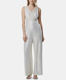 Tahari ASL Liquid-Knit Metallic Jumpsuit