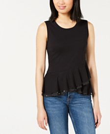 Maison Jules Crossover Peplum Top, Created for Macy's