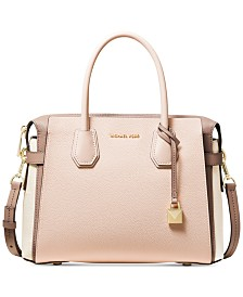 5a506fc603e935 MICHAEL Michael Kors Mercer Belted Tricolor Pebble Leather Satchel