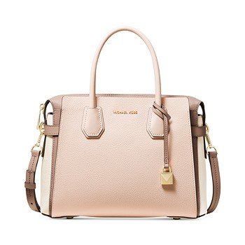 Michael Kors Mercer Belted Tricolor Pebble Leather Satchel