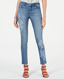 Style & Co Petite Floral-Print Skinny Jeans, Created for Macy's