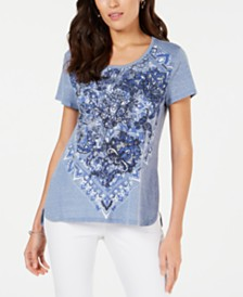 Style & Co Petite Printed Scoop-Neck T-Shirt, Created for Macy's