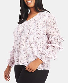 1.STATE Plus Size Floral-Print Ruffled Blouse