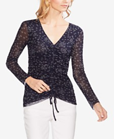 Vince Camuto Floral Drawstring Top