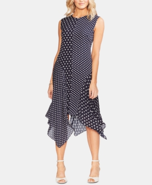 Vince Camuto Dresses MIXED-PRINT HANDKERCHIEF-HEM DRESS