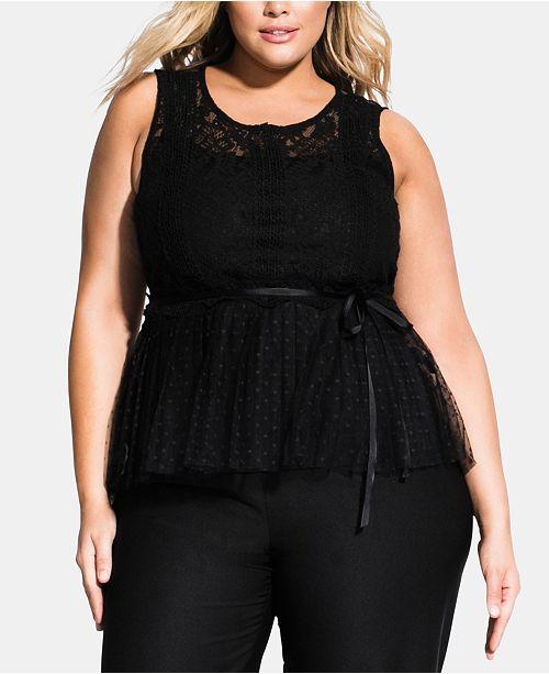 8769db1b140 City Chic Trendy Plus Size Violet Ribbon Lace Top - Tops - Plus ...