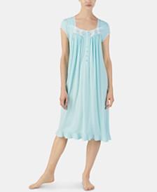Eileen West Embroidered Trim Jersey Knit Waltz Nightgown