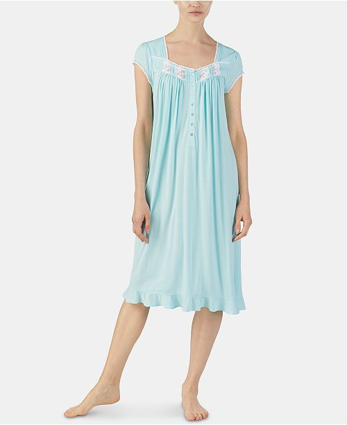Eileen West Embroidered Trim Jersey Knit Waltz Nightgown