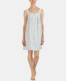 Printed Venise Lace Lawn Woven Cotton Chemise Nightgown