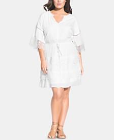 City Chic Trendy Plus Size Crochet-Trim Dress